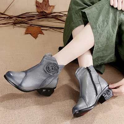 Daily Flower Round Toe Zipper Chunky Heel Boots On Sale_7