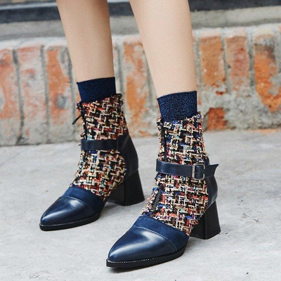 Daily Zipper Pointed Toe Buckle Chunky Boots On Sale_2