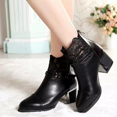 Daily Buckle Chunky Heel Pointed Toe Zipper Boots On Sale_5