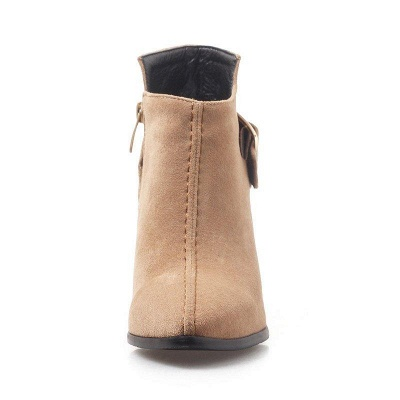 Daily Chunky Heel Suede Elegant Round Toe Boots On Sale_7