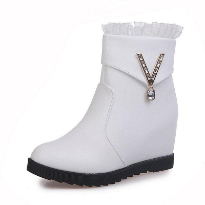 Rhinestone Round Toe Zipper Elegant Wedge Heel Boots On Sale_1