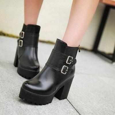 Buckle PU Chunky Heel Round Boots On Sale_2
