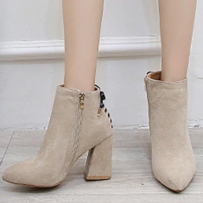 Chunky Heel Daily Lace-up Pointed Toe Zipper Boots On Sale_5