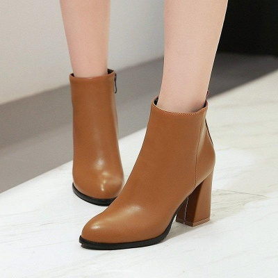 Chunky Heel Zipper Daily Pointed Toe Boots On Sale_6