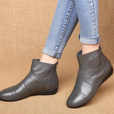 Daily Zipper Flat Heel Pointed Toe Boots On Sale_7