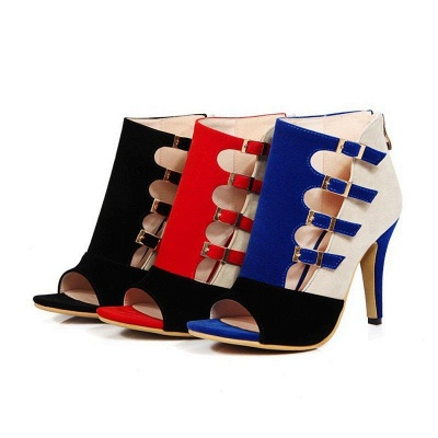 Suede Cone Heel Zipper Lace-up Peep Toe Boots On Sale_7