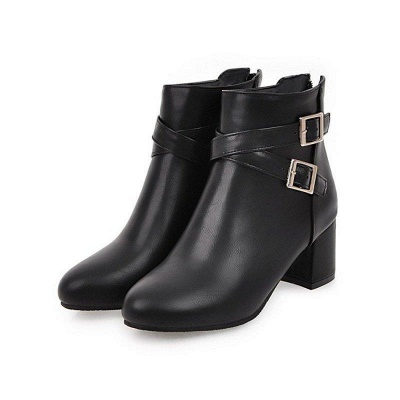 Daily Chunky Heel Buckle Pointed Toe Boots On Sale_3