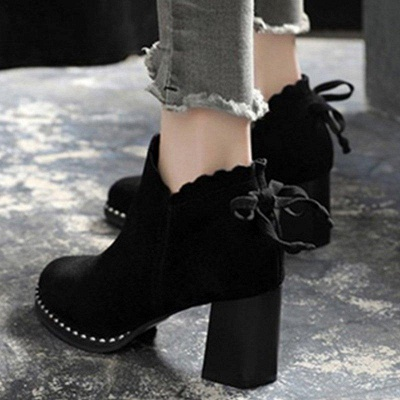 Suede Bowknot Zipper Boots On Sale_4