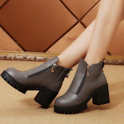 Zipper Chunky Heel Daily Round Toe Boots On Sale_6