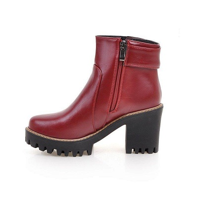 Daily Chunky Heel Zipper Round Boots On Sale_13