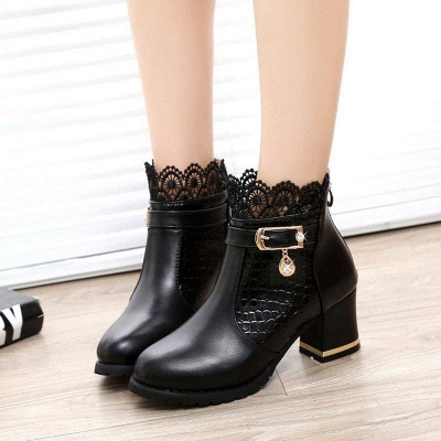 Chunky Heel Zipper Pointed Toe Buckle Boots On Sale_2