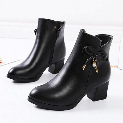 Bowknot Daily Chunky Heel Pointed Toe Zipper Elegant Boots On Sale_7