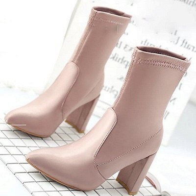 Daily Chunky Heel Zipper Pointed Toe PU Boots On Sale_5