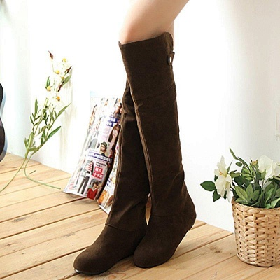 Suede Fall Round Toe Wedge Boots On Sale_3