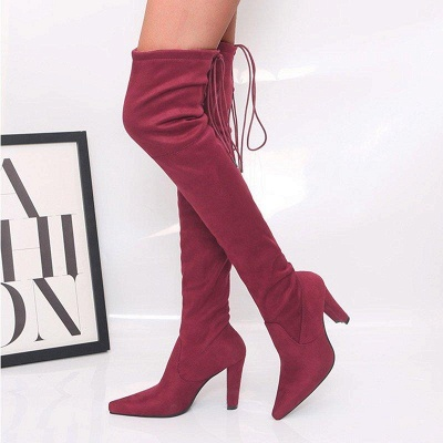 Chunky Heel Lace-up Daily Pointed Toe Elegant Boots On Sale_3