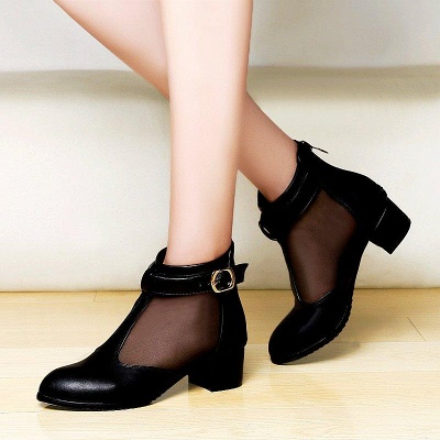Buckle Pointed Toe Chunky Heel Elegant Boots On Sale_2