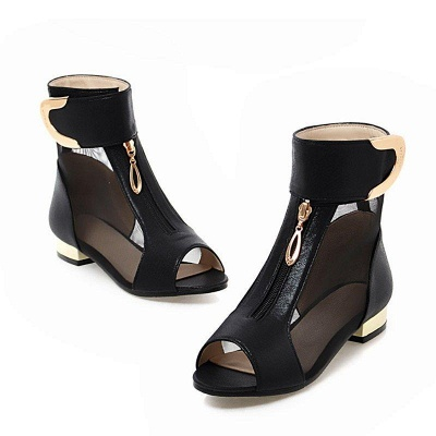 Mesh Hollow-out Peep Toe Summer Boots On Sale_9