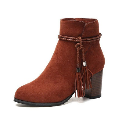 Chunky Heel Daily Tassel Zipper Boots On Sale_7