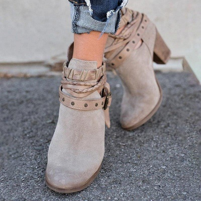 Velvet Adjustable Buckle Daily Pointed Toe Chunky Boots On Sale_2