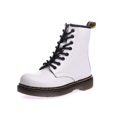 Chunky Heel Cowhide Leather Lace-up Boots On Sale_3