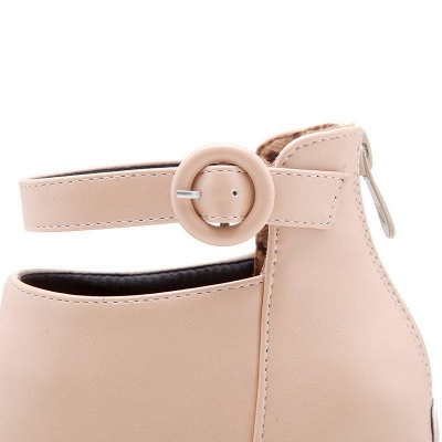 Chunky Heel PU Daily Tie Round Boots On Sale_9