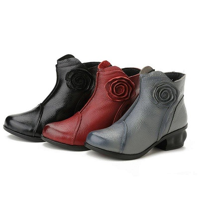 Daily Flower Round Toe Zipper Chunky Heel Boots On Sale_8