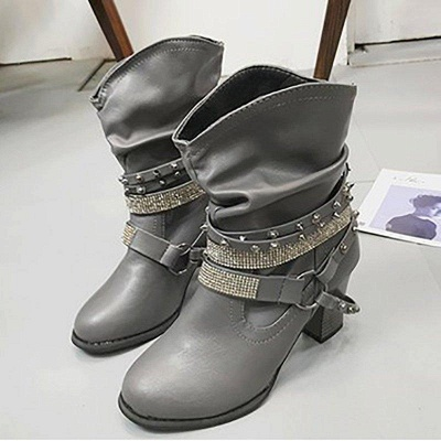 Rivet Chunky Heel Daily Pointed Toe Boots On Sale_9