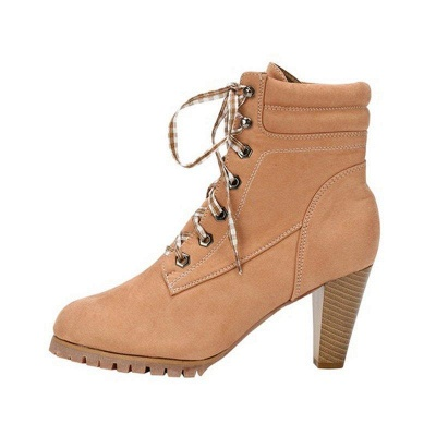 Chunky Heel PU Daily Lace-up Boots On Sale_1