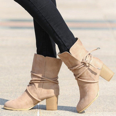 Women's Boots Lace-Up Chunky Heel Round Toe Elegant Apricot Boots On Sale_1