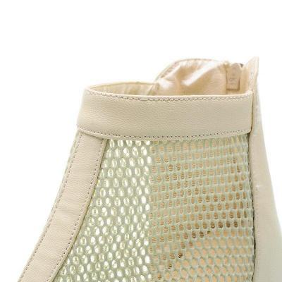Zipper Daily Peep Toe Wedge Heel Boots On Sale_9