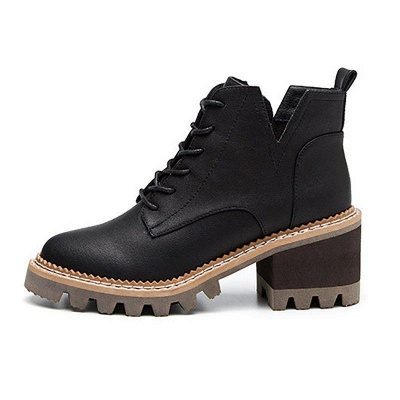 Daily Lace-up Chunky Heel Round Toe Boots On Sale_8