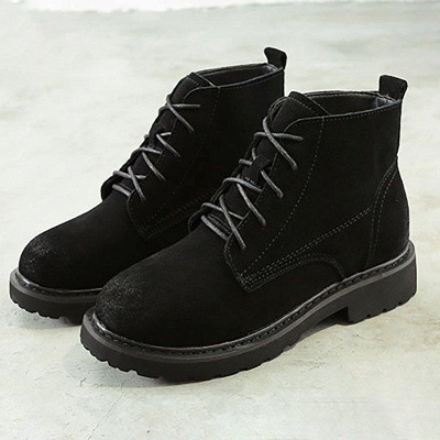Grind Cowhide Leather Round Toe Boots On Sale_4