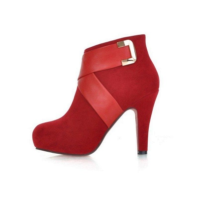 Stiletto Heel Zipper Suede Lace-up Cone Heel Round Boots On Sale_13