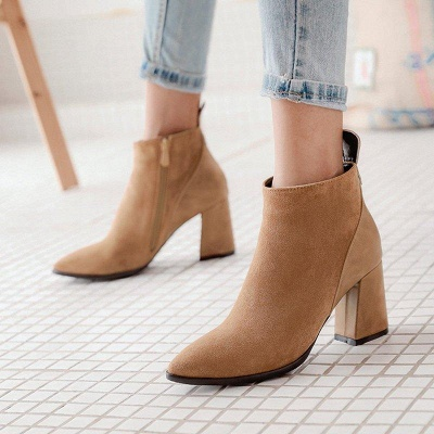 Chunky Heel Suede Elegant Round Boots On Sale_2