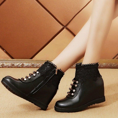 Zipper Daily Wedge Heel Round Toe Boots On Sale_2