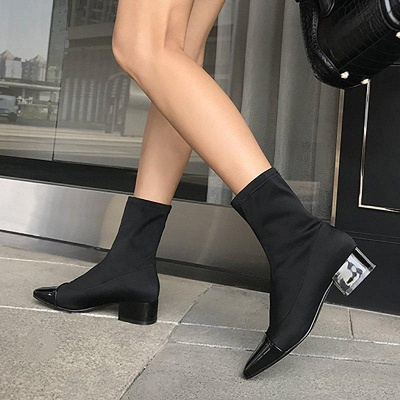 Lady Daily Chunky Heel Square Toe Low Boots On Sale_1