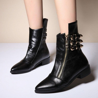PU Chunky Heel Zipper Pointed Toe Casual Boots On Sale_2