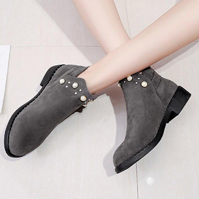 Suede Chunky Heel Daily Beading Round Toe Boot On Sale_2