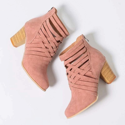 Zipper Pointed Toe Chunky Boots On Sale_5