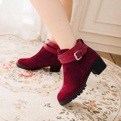 Buckle Chunky Heel Pointed Toe Elegant Boots On Sale_5