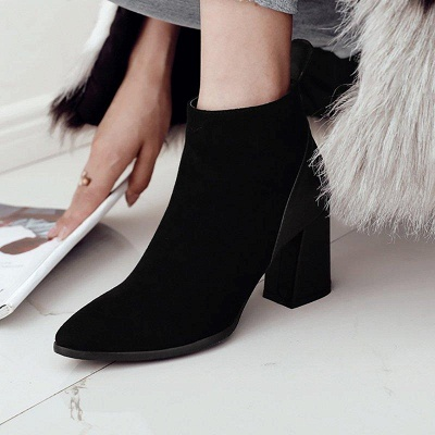 Chunky Heel Suede Elegant Round Boots On Sale_4