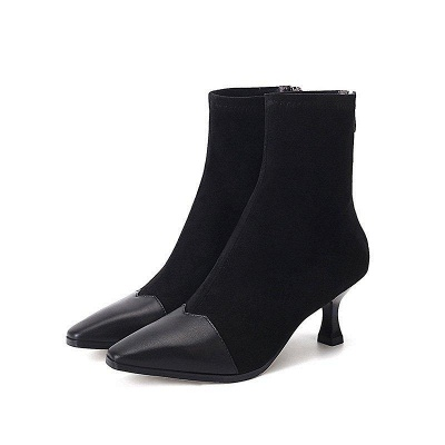 Zipper Cone Heel Daily Pointed Toe Boots On Sale_7