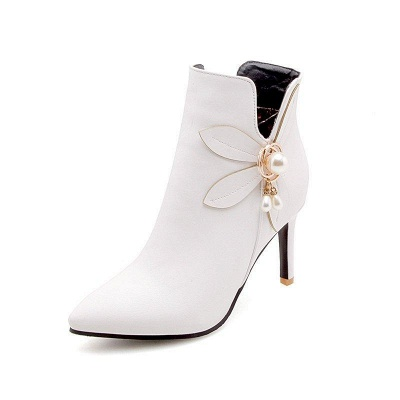 Stiletto Heel Pearl Daily Pointed Toe Elegant Boots On Sale_3