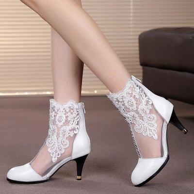 Dress All Season Stitching Lace Mesh Stiletto Boots On Sale_4
