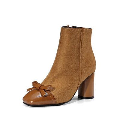Daily Zipper Square Toe Bowknot Chunky Boots On Sale_6