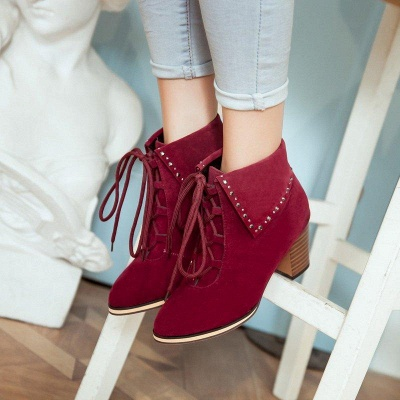 Chunky Heel Daily Rhinestone Pointed Toe Boots On Sale_1