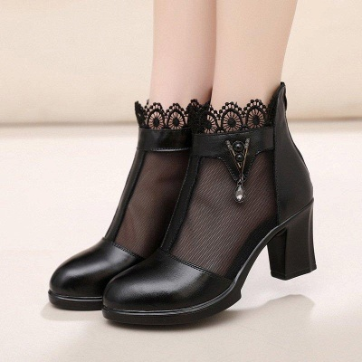 Chunky Heel Zipper Round Toe Elegant Boots On Sale_1