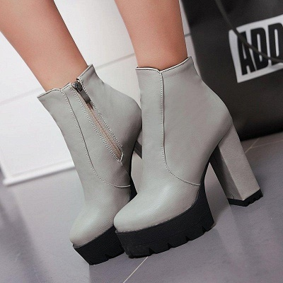 Chunky Heel Daily Zipper Round Boots On Sale_4