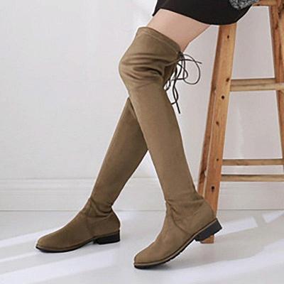 Suede Chunky Heel Buckle Boot On Sale_10