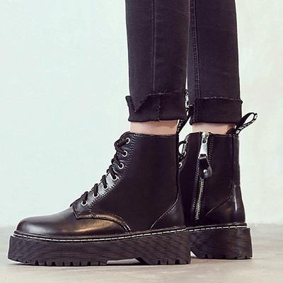 Platform Lace-up Round Boots On Sale_2